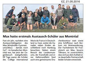 Bericht der Emder Zeitung
