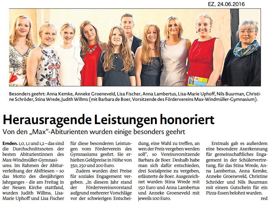 Emder Zeitung vom 24.06.2016