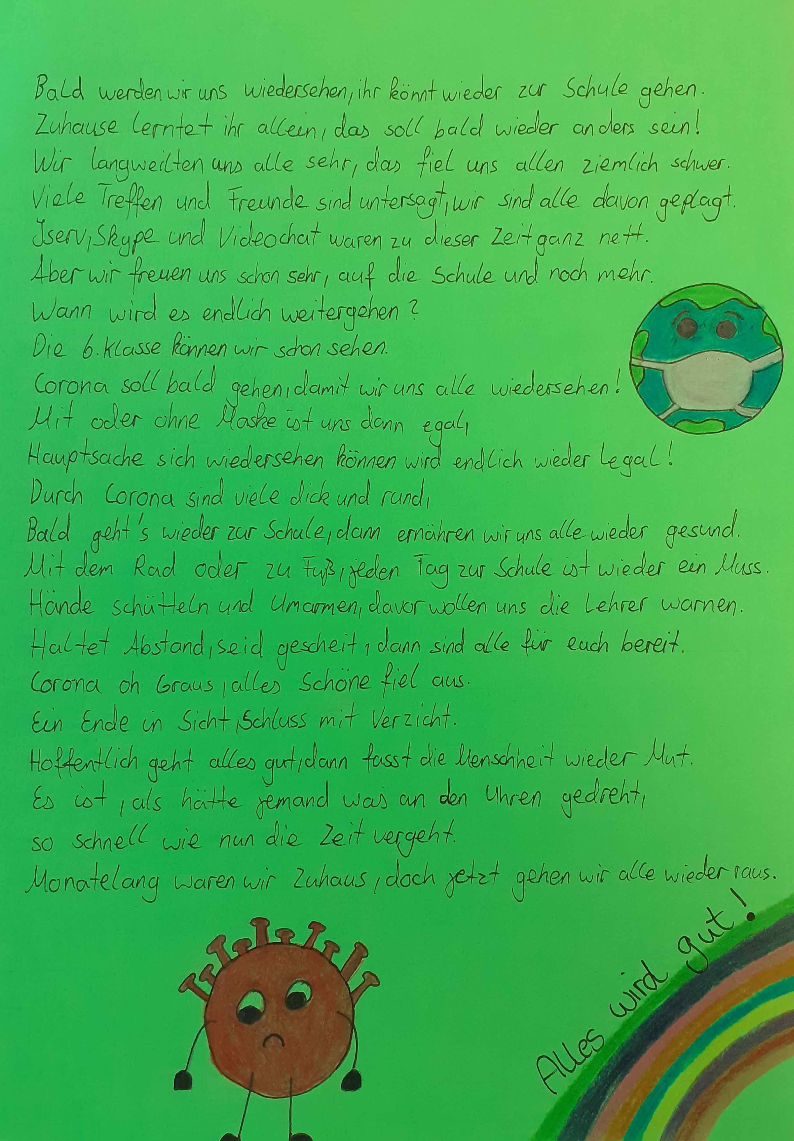 Iserv-Messenger-Corona-Gedicht der 5a